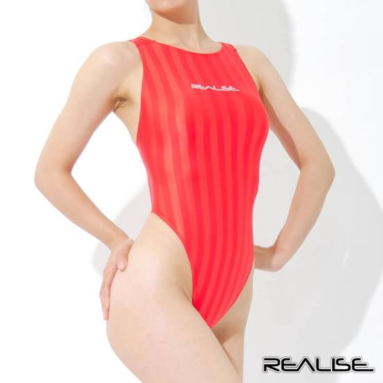 REALISE (realize) T back swimming swimsuit outfit Jacquard stripe [KT ...: hirose1117.ocnk.net/product/4053