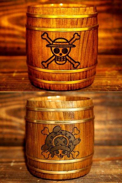 Photo1: ONE PIECE KIDARU (wooden butt) Beer Mug Monkey D. Luffy Ver + Shinsekai Chopper Ver. 380ml  2sets (1)