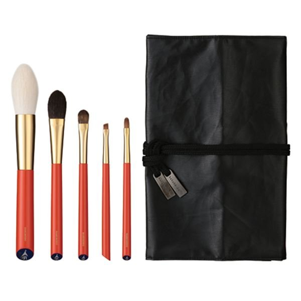 Photo1: Vermillion Handled Brush Set 5 pcs (1)