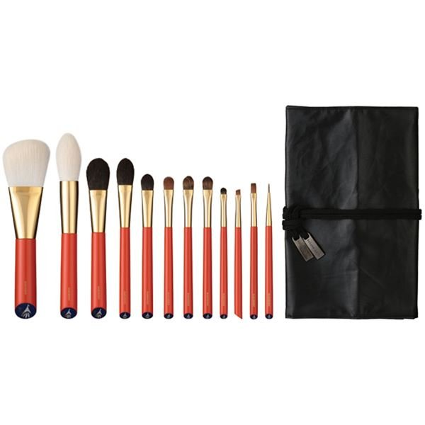 Photo1: Vermillion Handled Brush Set 12 pcs (1)