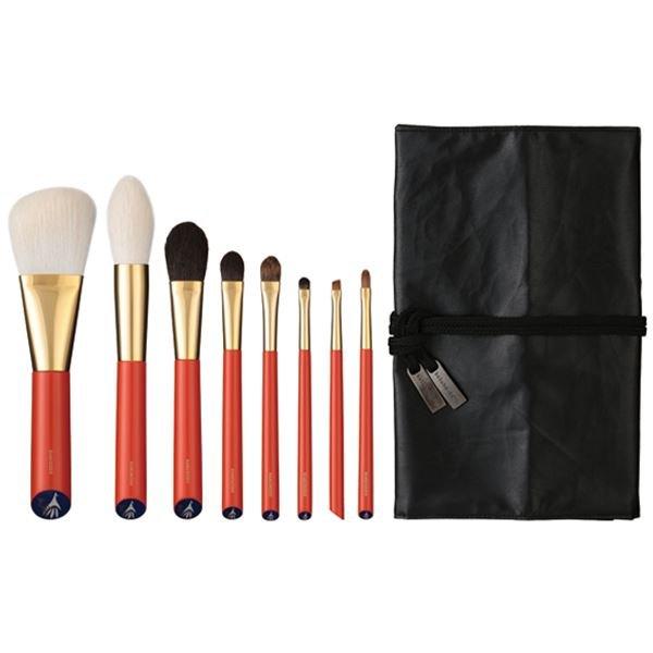 Photo1: Vermillion Handled Brush Set 8 pcs (1)