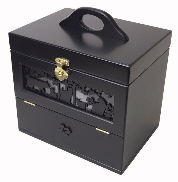 Photo1: Black cat Cosmetic box  Made of wood Make box (1)