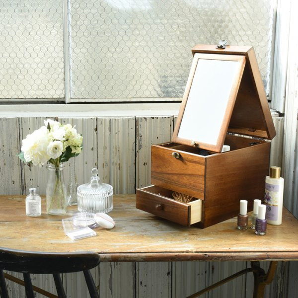 Photo1: made in japan Made of wood Cosmetic box  Make box  Lengthwise mirror (1)