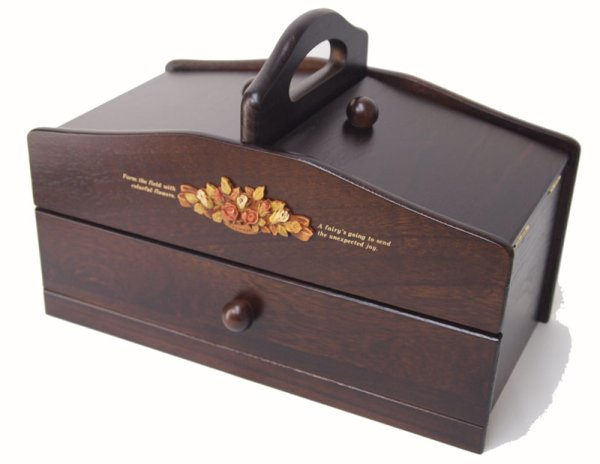 Photo1: made in japan One step of wooden sewing box drawer sewing box  dark brown (1)