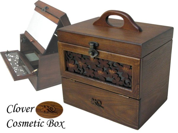 Photo1: Clover of four leaves Cosmetic box  Made of wood Make box (1)