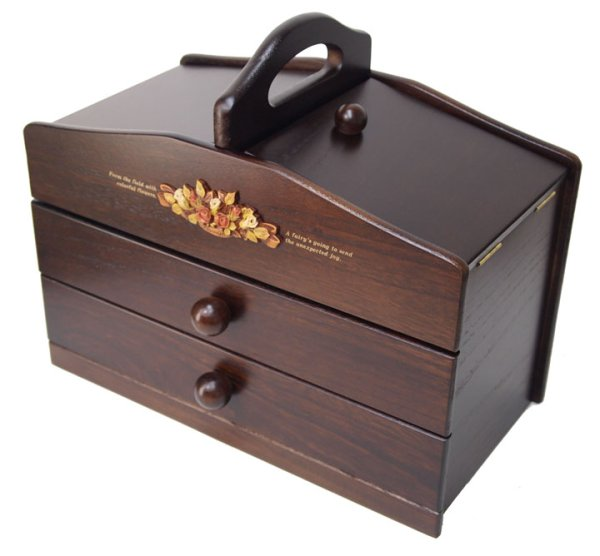 Photo1: made in japan Two steps of wooden sewing box drawer  dark brown (1)