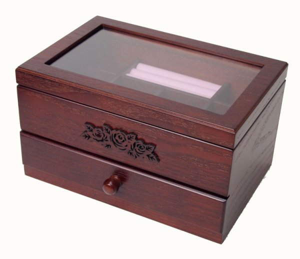 Photo1: Sculpture of the rose  Wooden accessories box  Wine color  One step of drawer  Wooden jewelry box (1)