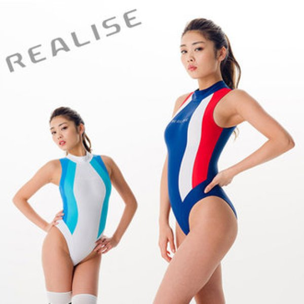 Photo1: Japanese [REALISE]  swimming race swimsuit costume color panel dress swimsuit (W calendaring)  (1)