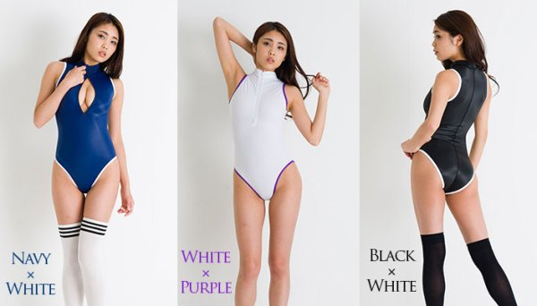 Photo1: REALISE(N506) front zipper swimming swimsuit costume (1)
